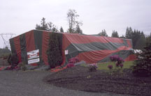 fumigation tent on warehouse